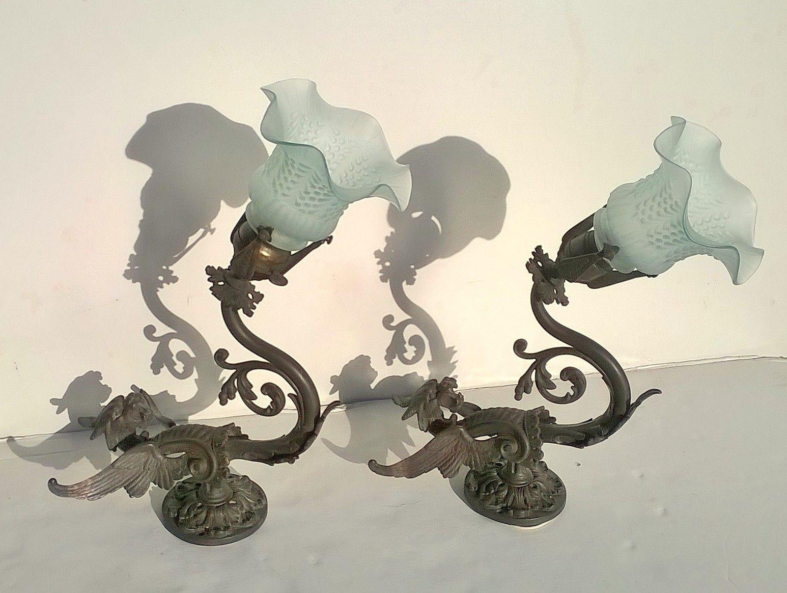 Skulpturale Wandlampen, 1910er, 2er Set