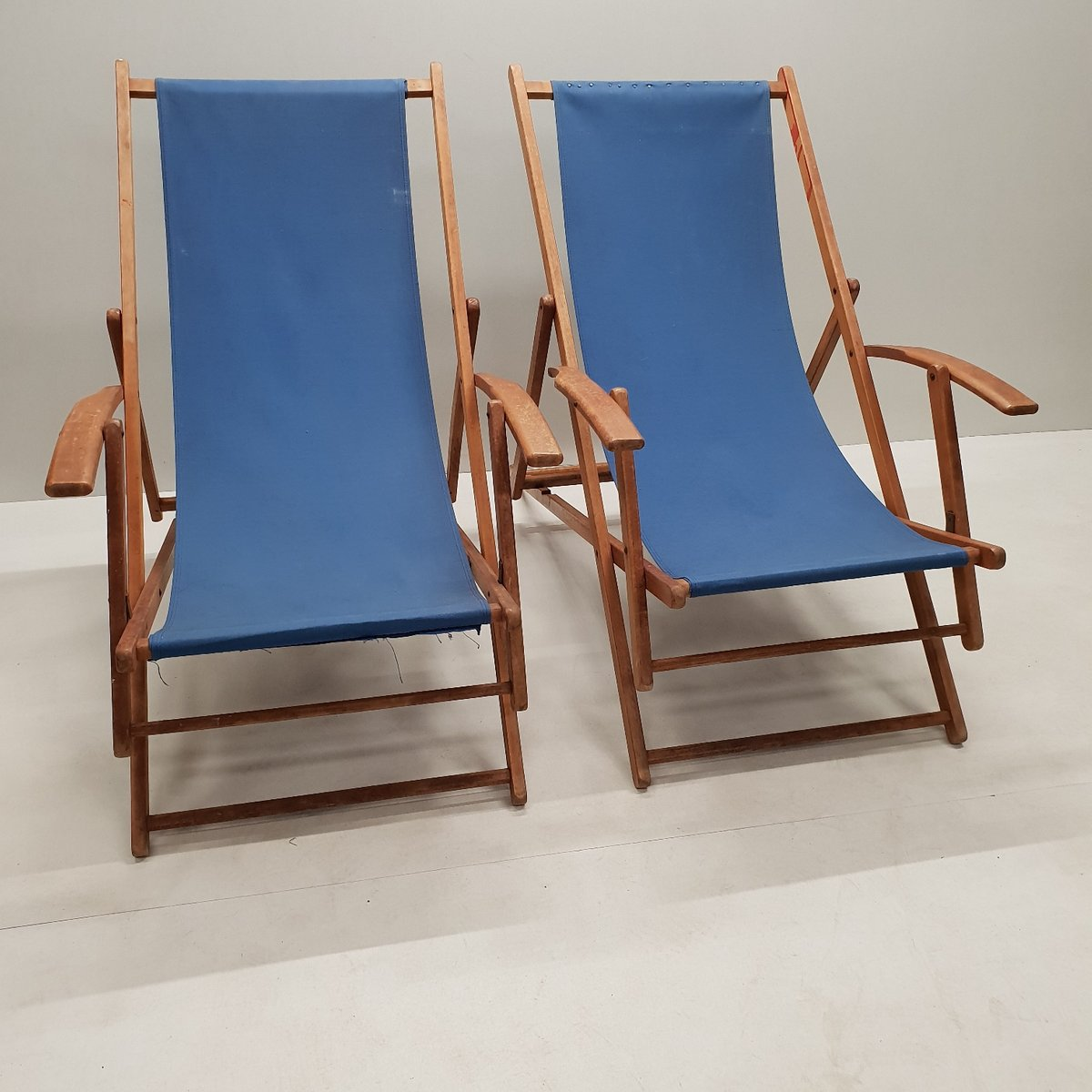 Vintage Wooden Folding Beach Chairs With Armrests 1950s