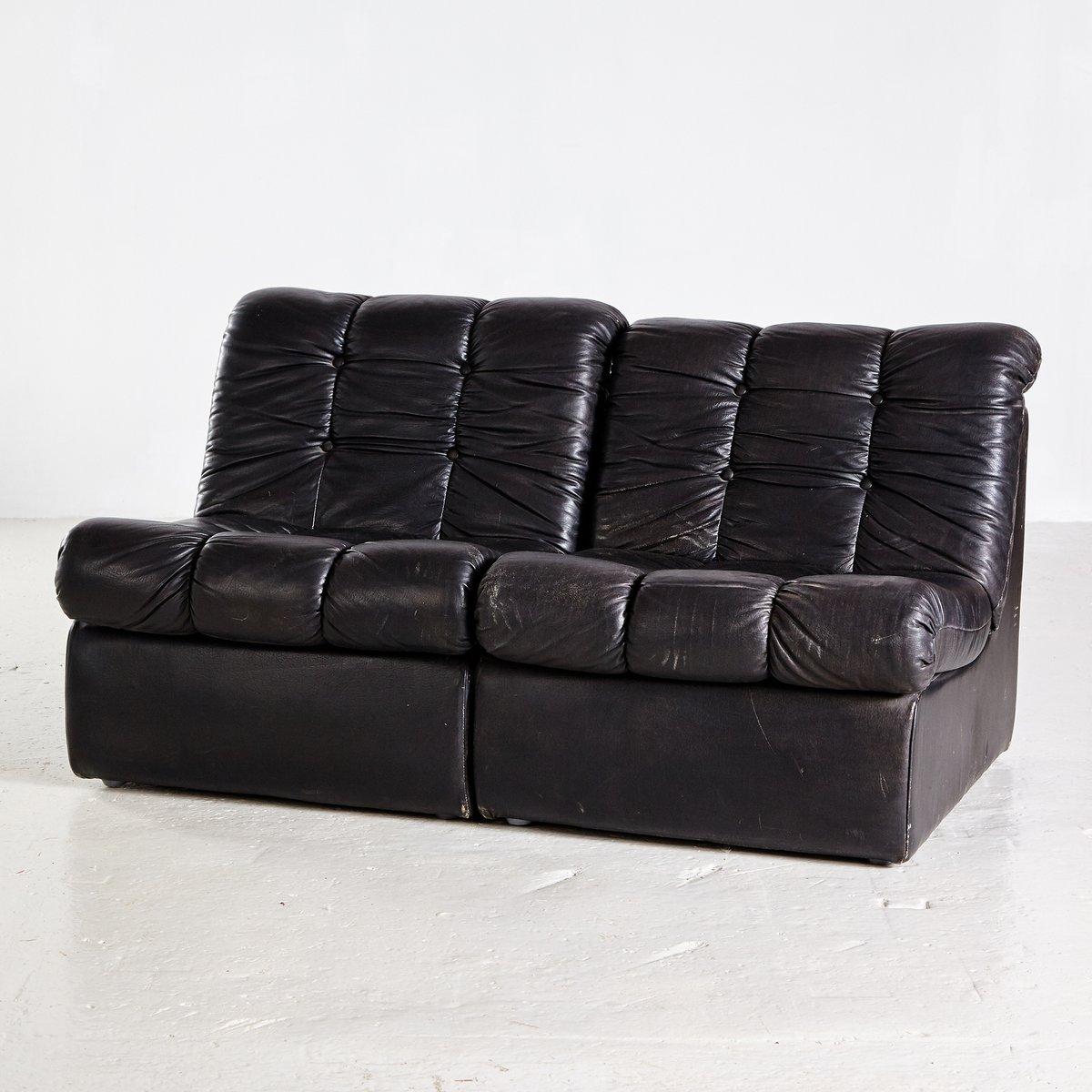 Vintage Black Leather Modular Sofa, 1970s For Sale At Pamono