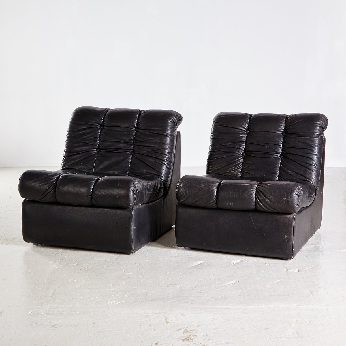modulares vintage sofa aus schwarzem leder 1970er bei. Black Bedroom Furniture Sets. Home Design Ideas