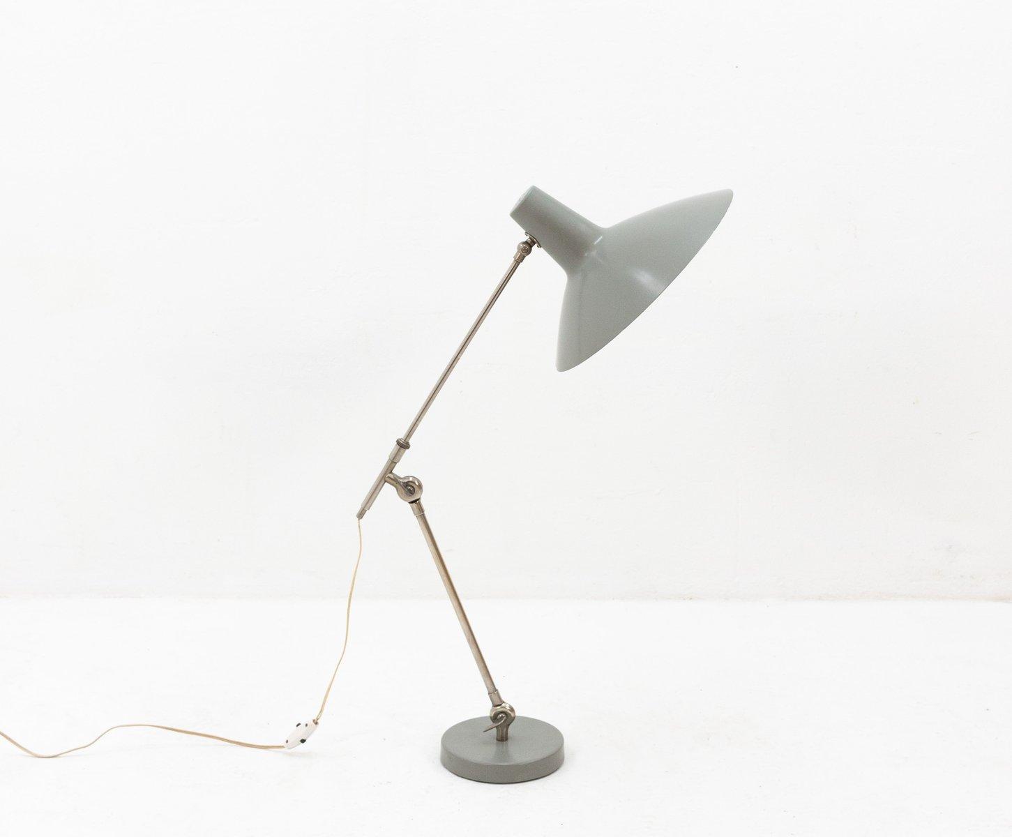 Graue industrielle Schreibtischlampe, 1964