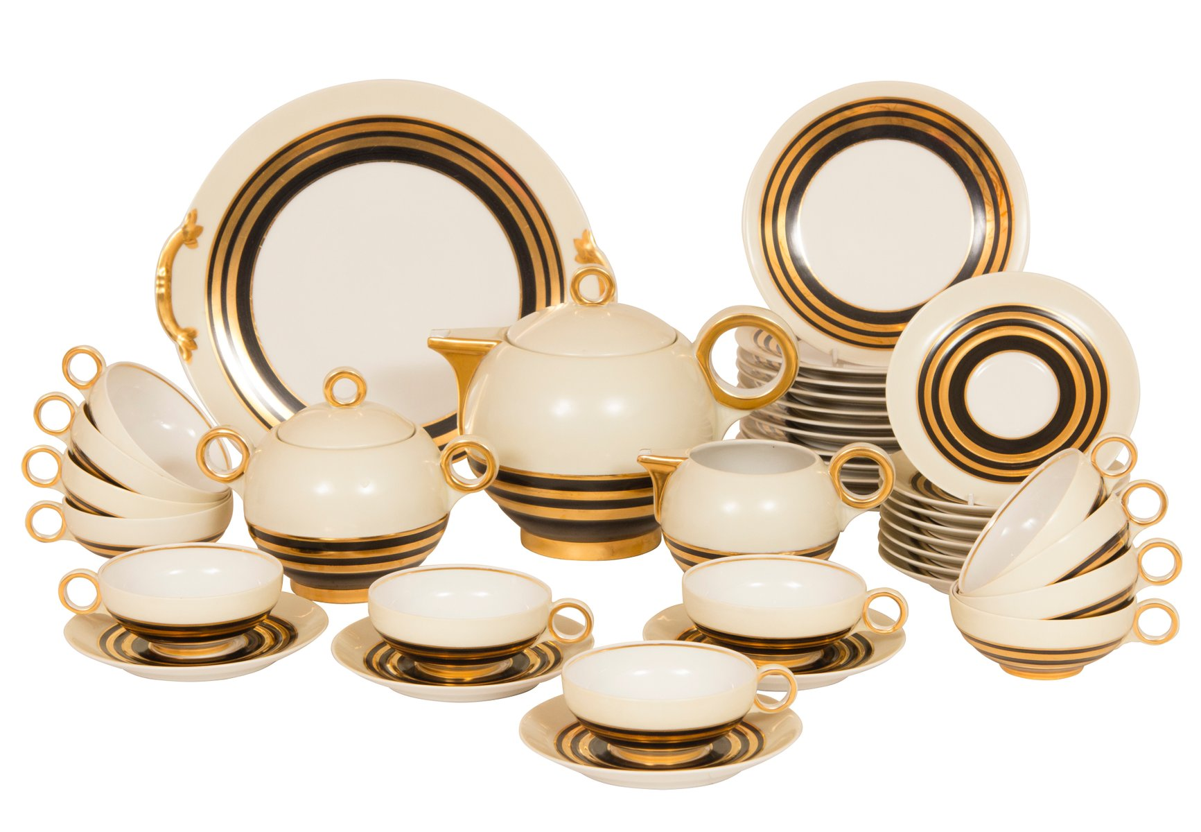 Art Deco Fine Bone China Tea Set By Charles Ahrenfeldt For Limoges