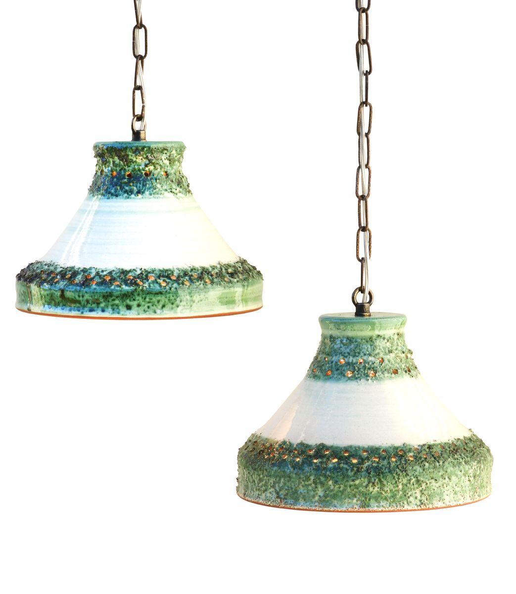 Vintage Hängelampen aus Keramik, 1970er, 2er Set