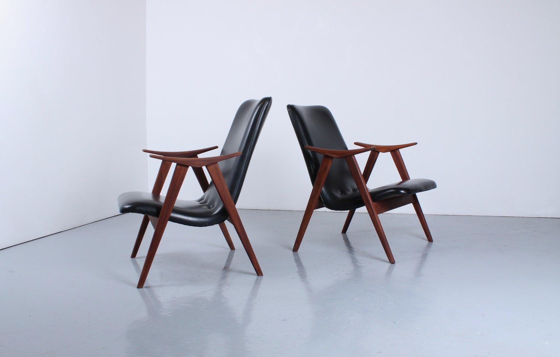 Sessel aus Teak und schwarzem Skai von Louis Van Teeffelen für WéBé, 1...