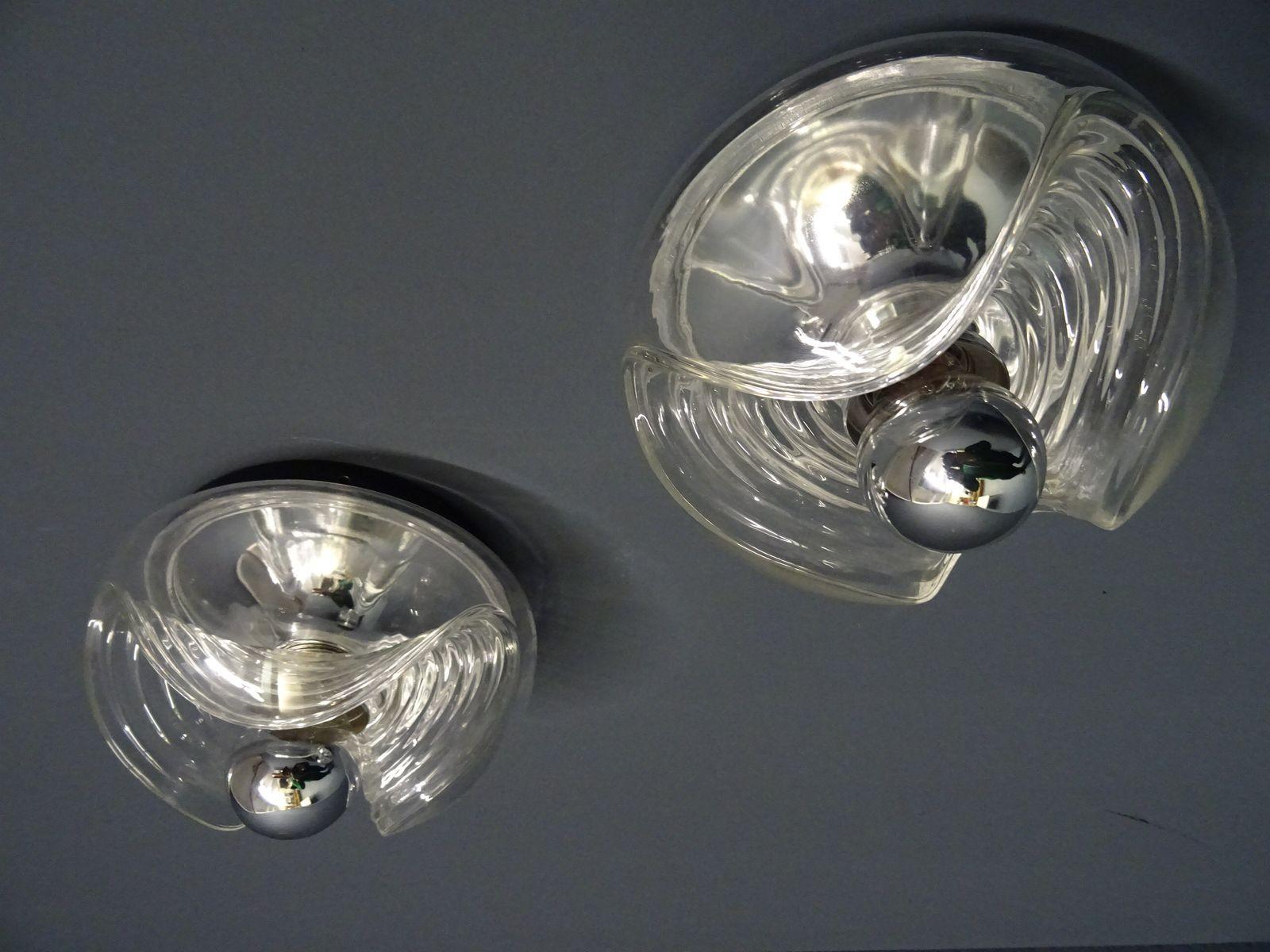 Gewellte Wandlampe von Koch & Lowy für Peill & Putzler, 1960er