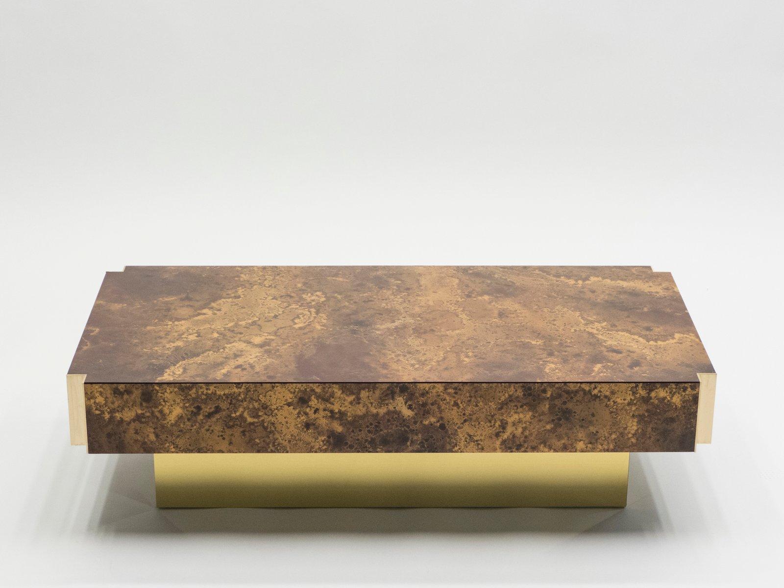 Lackierter Couchtisch aus Messing von Maison Jansen, 1970er