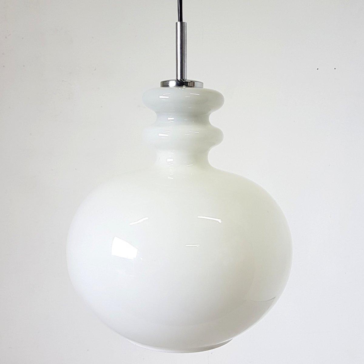 Hängelampe aus Opalglas von Peill & Putzler, 1960er