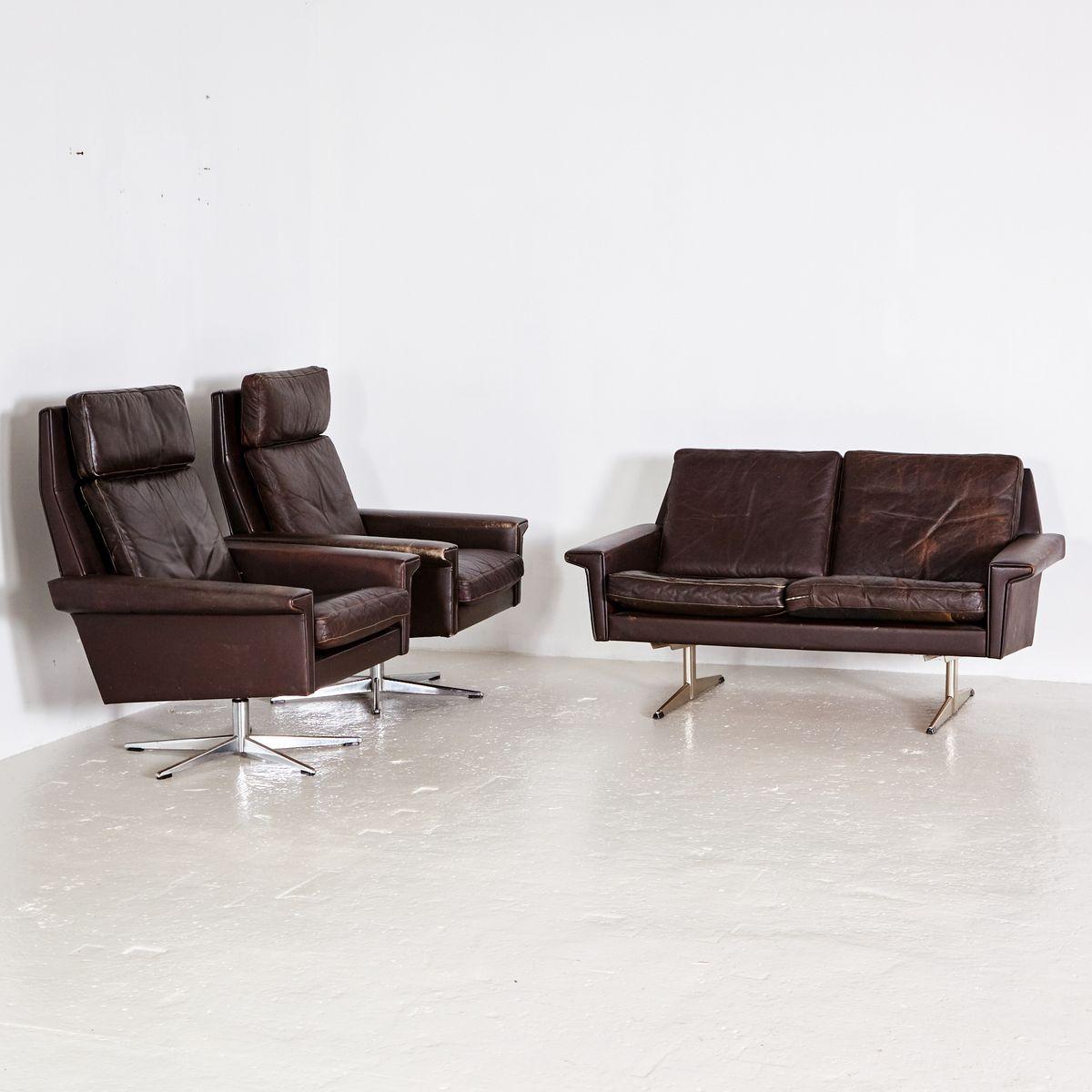 Dark brown leather sofa set 1960s