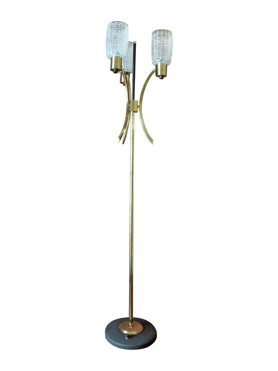 Stehlampe aus Messing, seidenmatt lackiertem Metall und Kristallglas v...