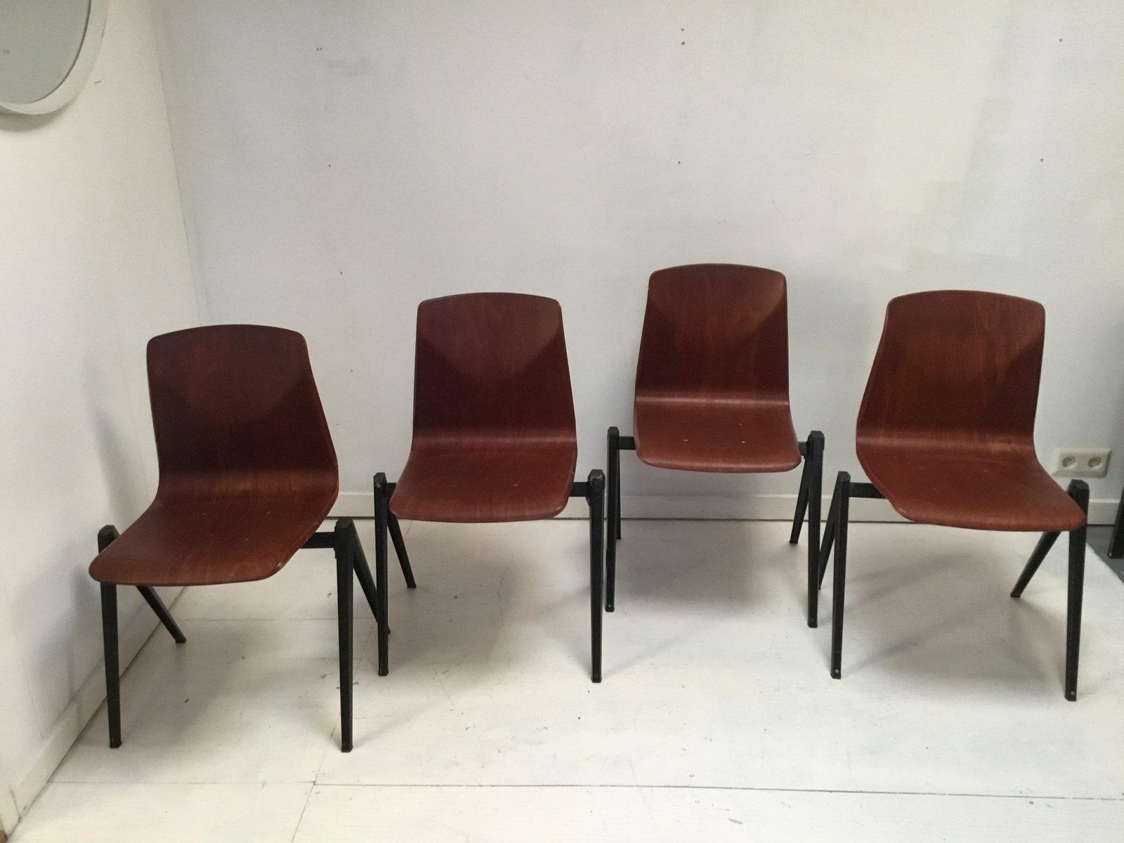 Industrielle Mid Century S 22 Stühle Von Galvanitas 4er