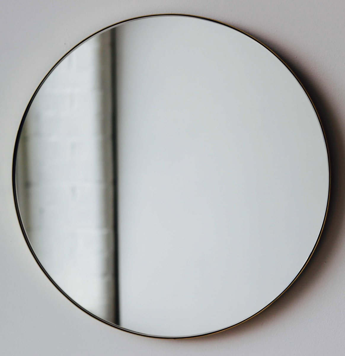 Extra Large Silver Orbis Round Mirror With Brass Frame By
