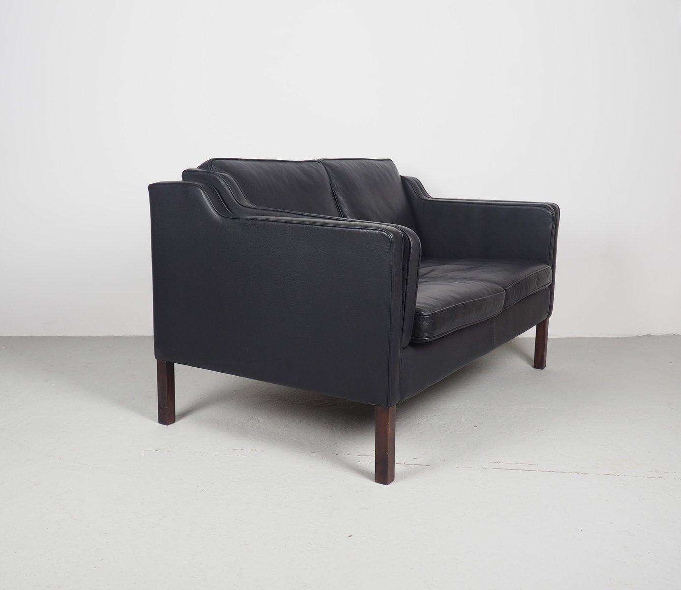 Schwarzes Vintage Modell Eva 2-Sitzer Ledersofa von Stouby bei Pamono kaufen