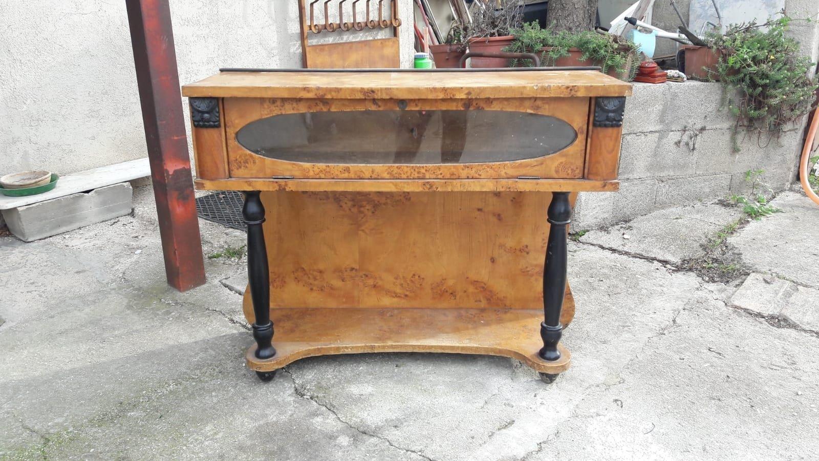 Italian art deco briar poplar wood console table