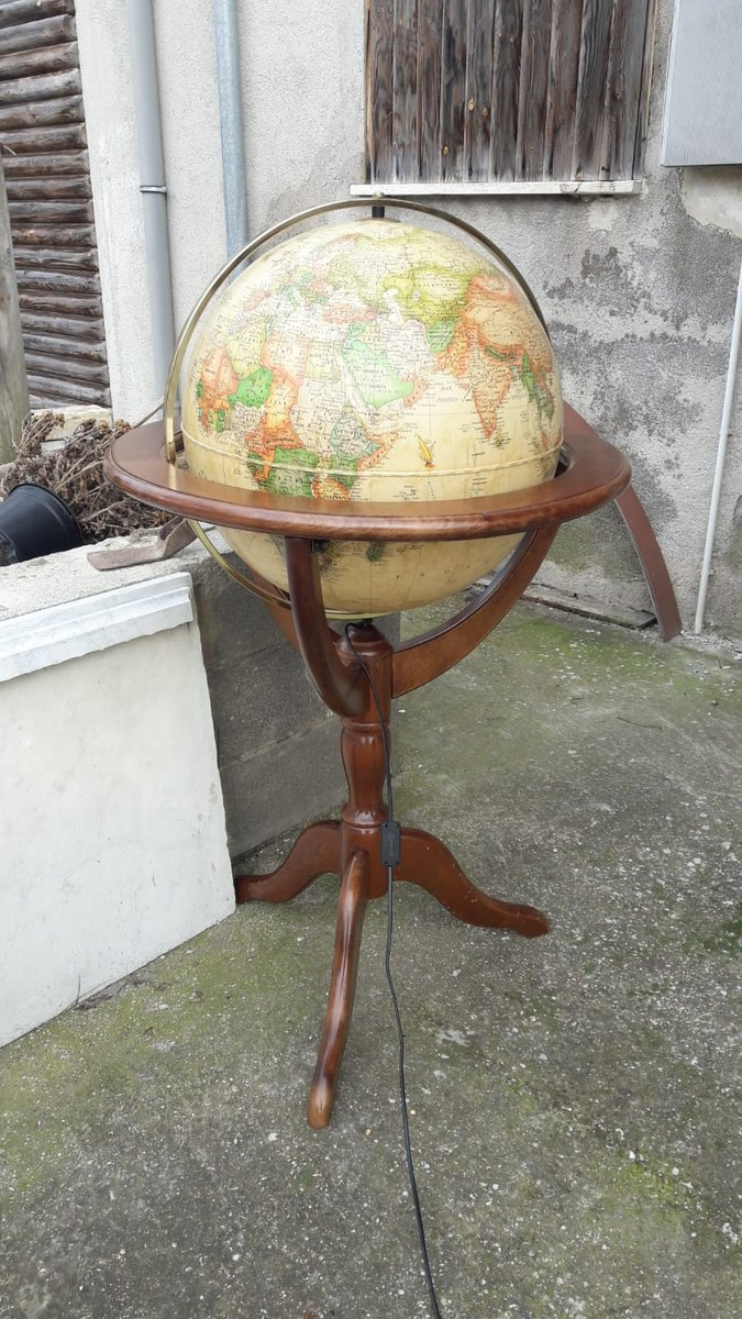 Illuminated Globe With Wooden Support 1980s For Sale At Pamono