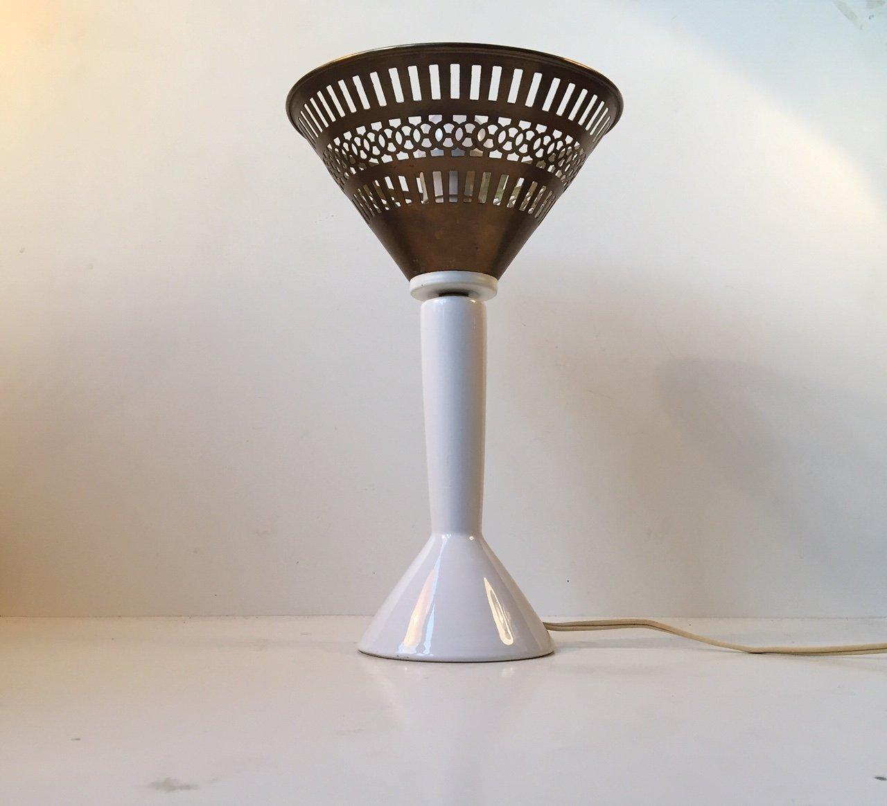 Dänische Tischlampe aus Messing & Porzellan von Jo Hammerborg für Fog ...