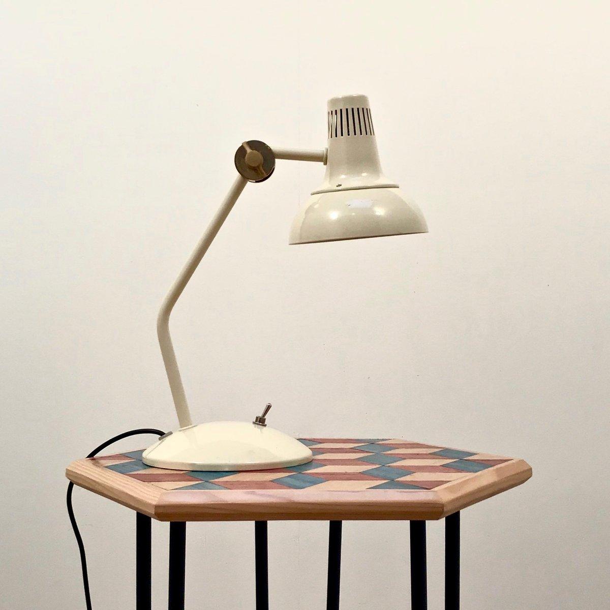 Cremefarbene Vintage Schreibtischlampe mit Gelenk