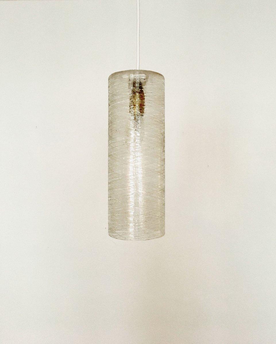 Zylinderförmige Hängelampe aus Eisglas von Doria Leuchten, 1950er
