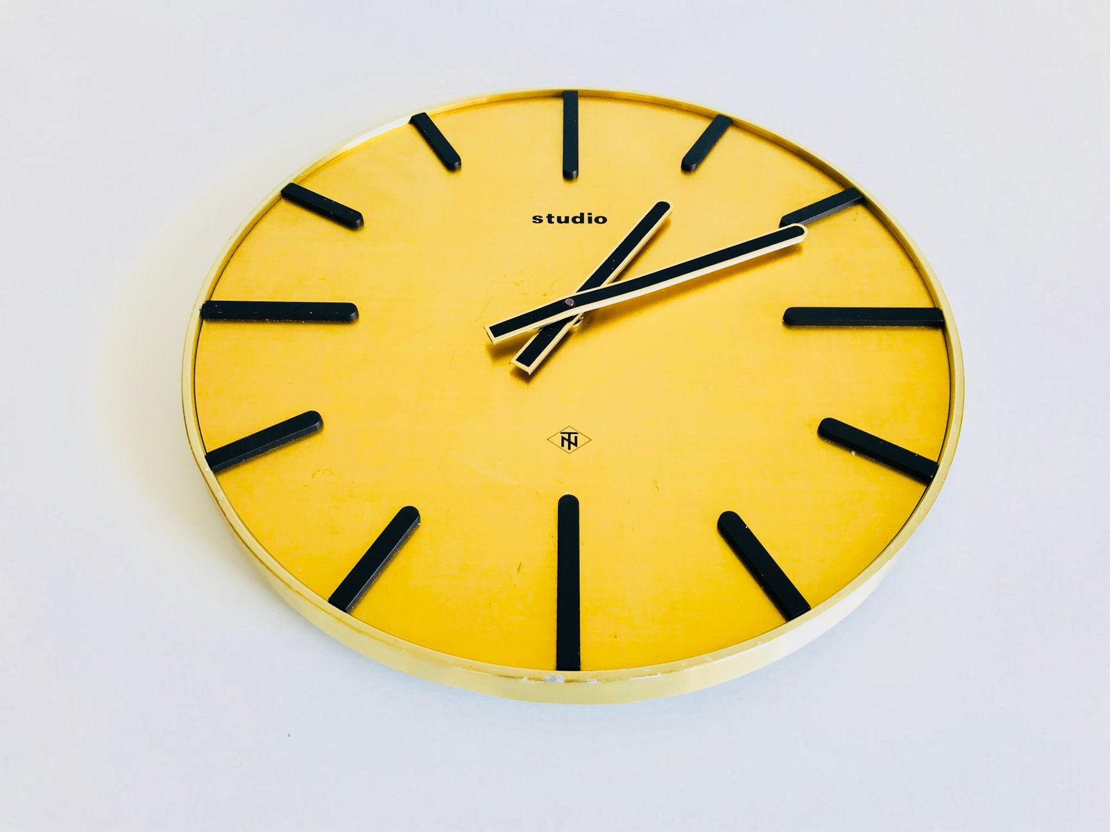 Industrial Brass Wall Clock From Telenorma 1970s For Sale