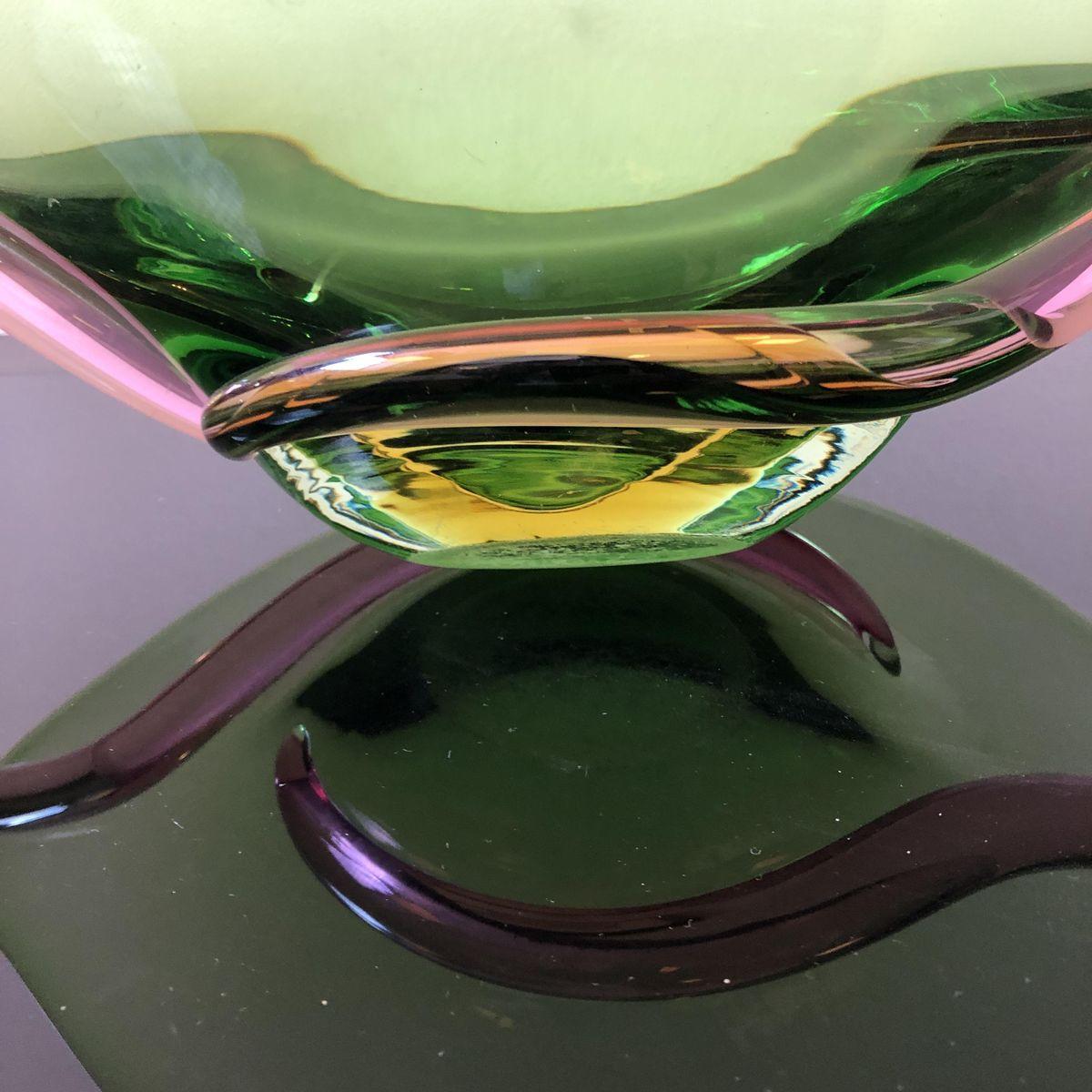 Centrotavola Mid-Century moderno in vetro di Murano verde ...