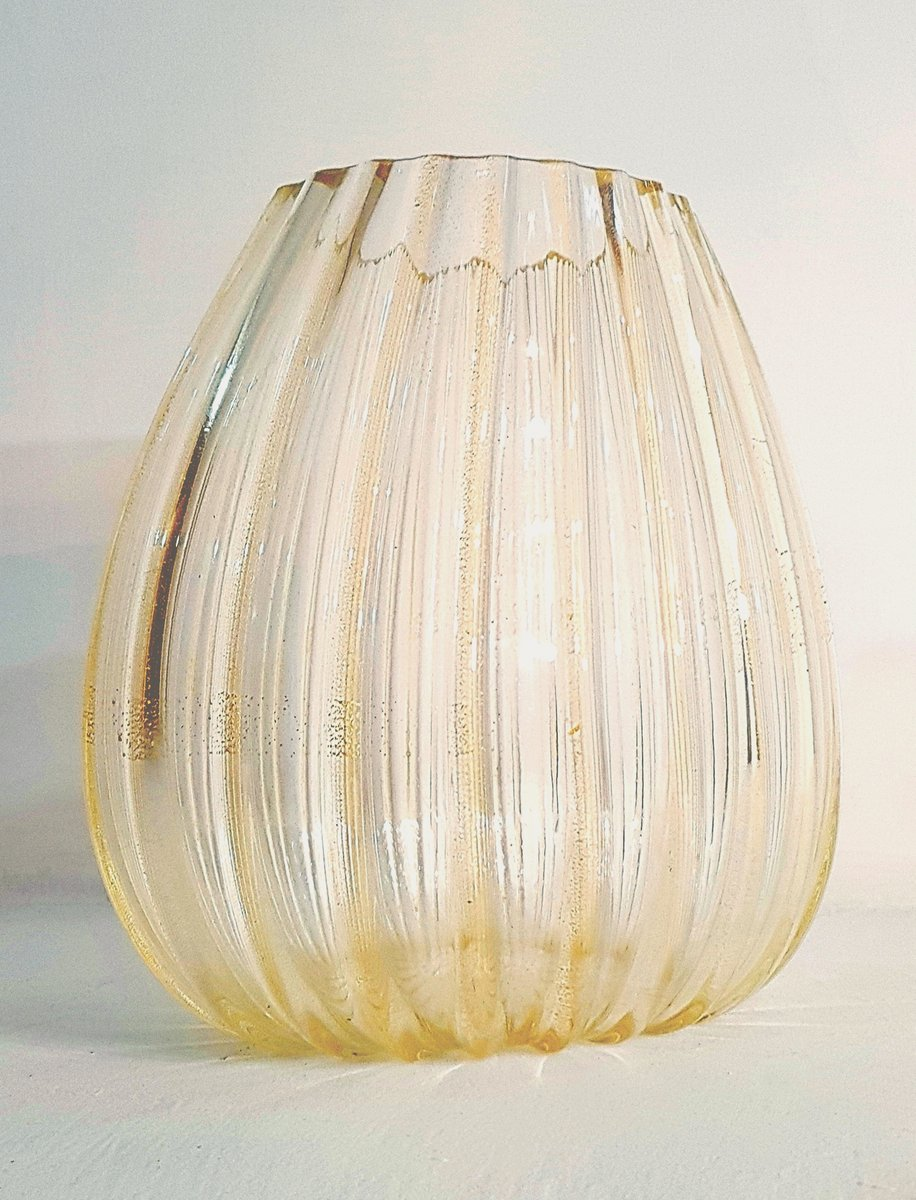 Large Vintage 24-Karat Gold and Murano Glass Vase from La Murrina ...
