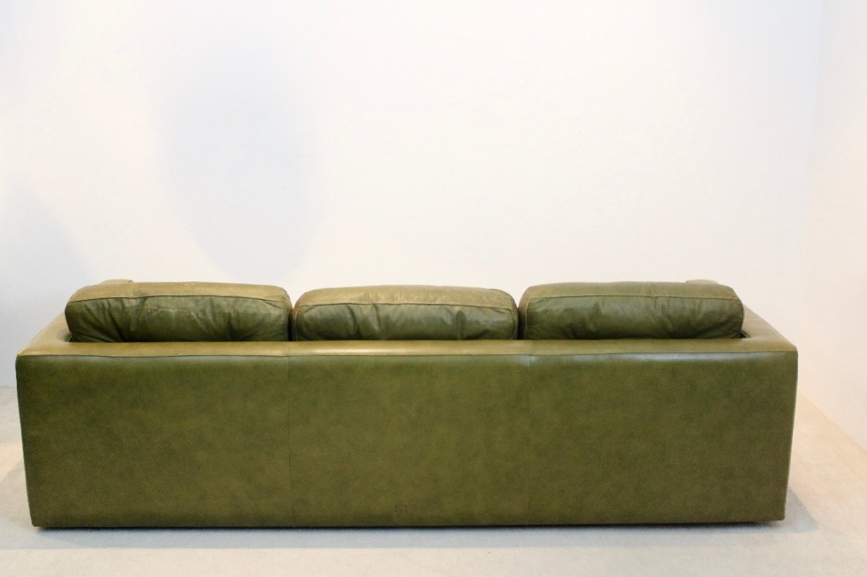 Olive Green Leather Three Seat Sofa From Poltrona Frau