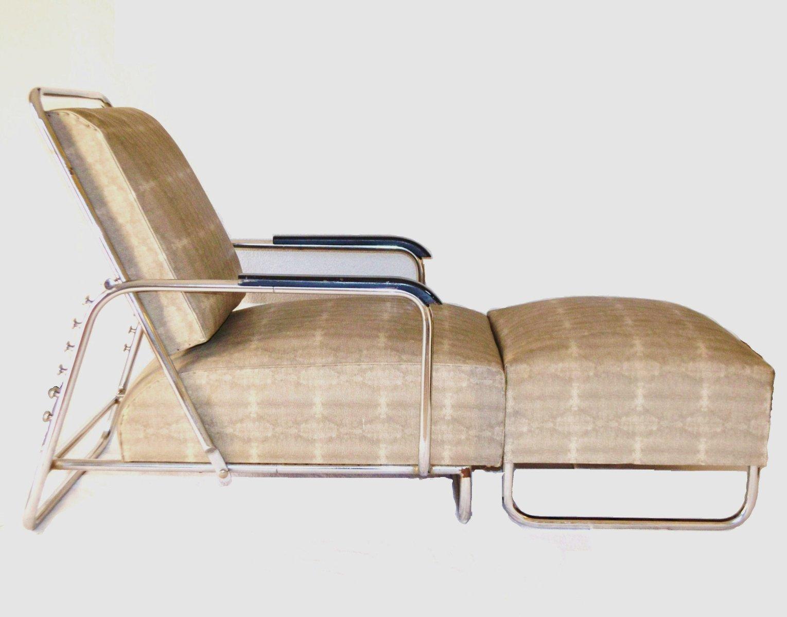 gro er verstellbarer bauhaus sessel mit hocker 1930er bei. Black Bedroom Furniture Sets. Home Design Ideas