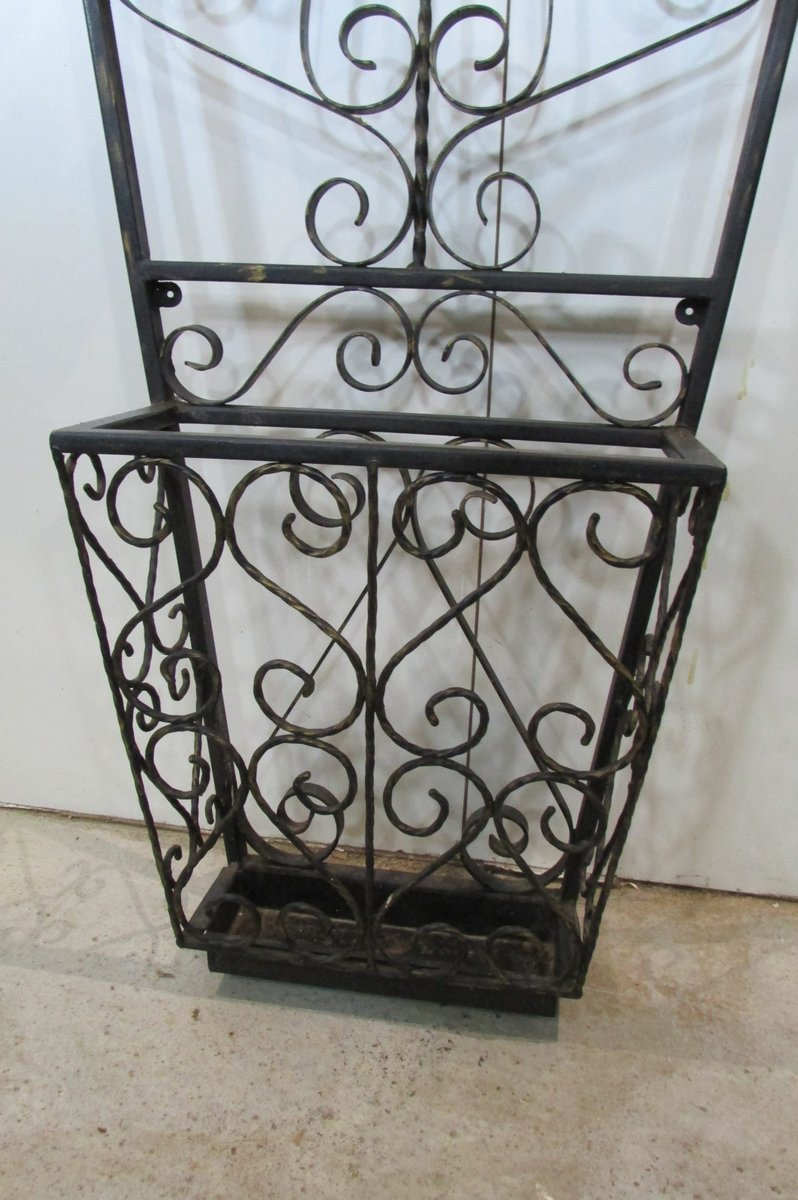 Vintage Wall Mounted Wrought Iron Coat Rack 1950s For