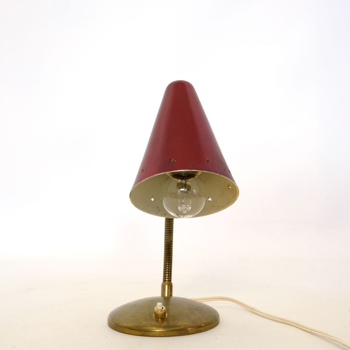 Mid Century French Red Gold Table Lamp For Sale At Pamono