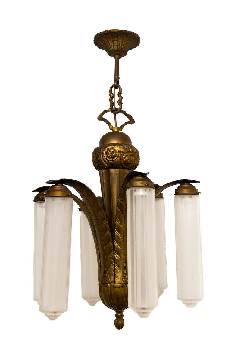 Art Deco Kronleuchter aus Bronze & Milchglas, 1920er