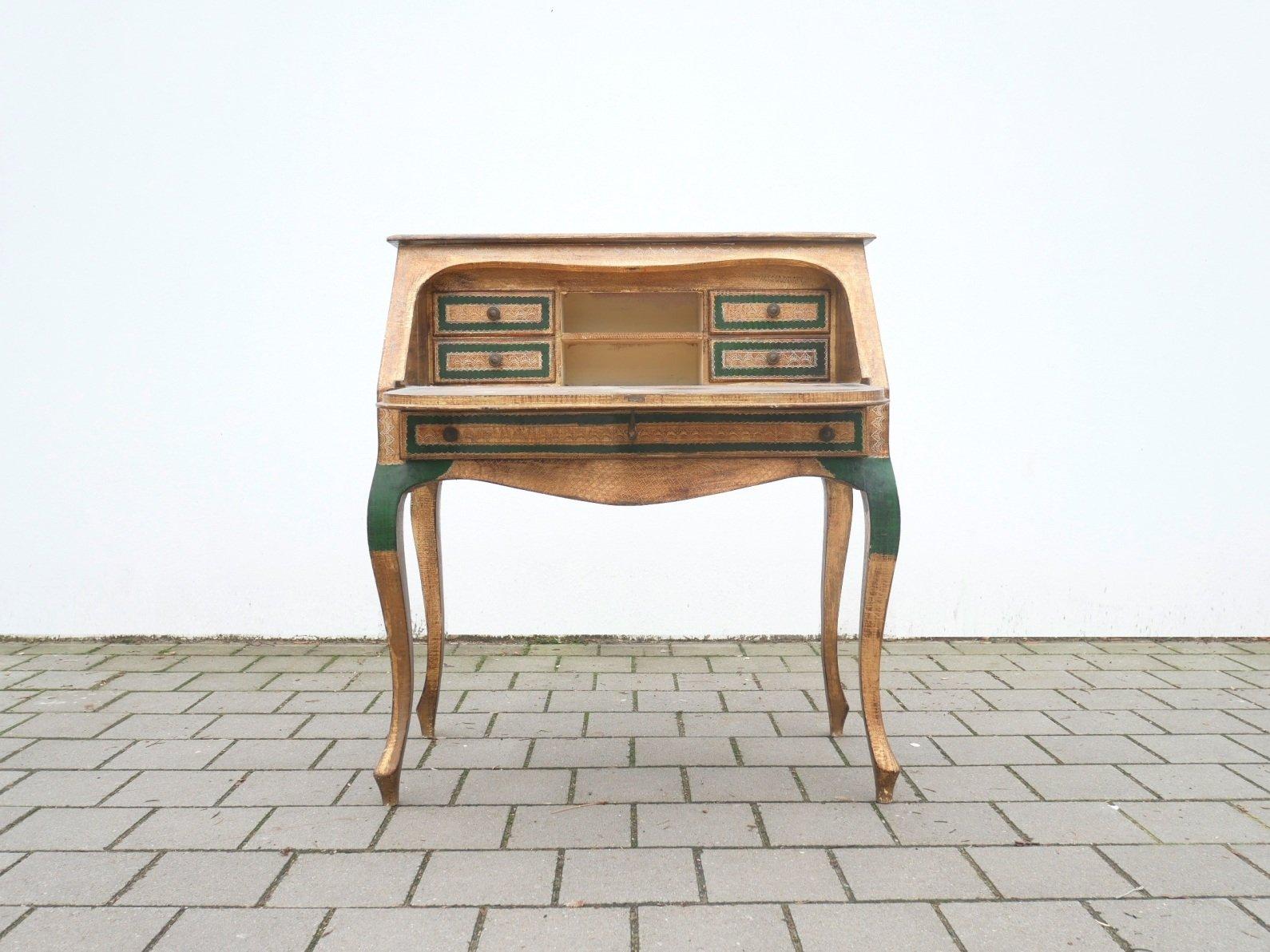 Bureau d Écriture chaise en bois laqué doré italie s en