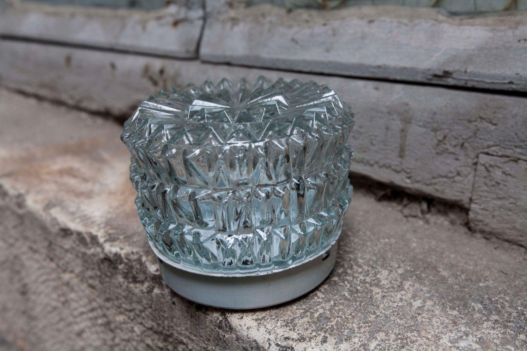 Runde Deckenlampe aus Glas, 1950er