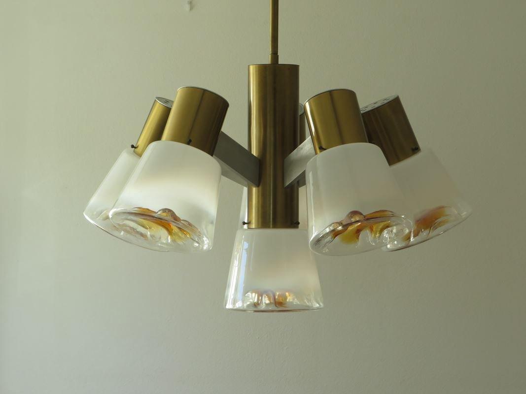 Plafoniera Ottone Vetro : Lampadario vintage vetro ottone lampada plafoniera