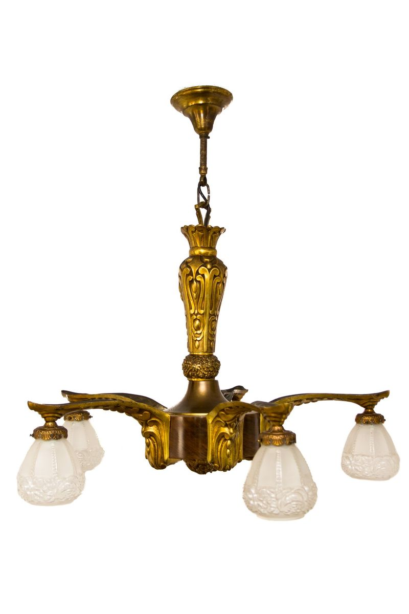 Art Deco Kronleuchter aus vergoldeter Bronze und Holz