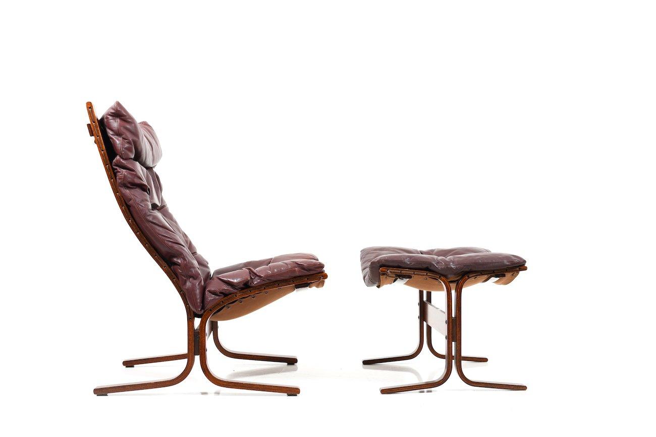 Vintage 2 Highback Sessel & Fußhocker von Ingmar Relling für Westnofa