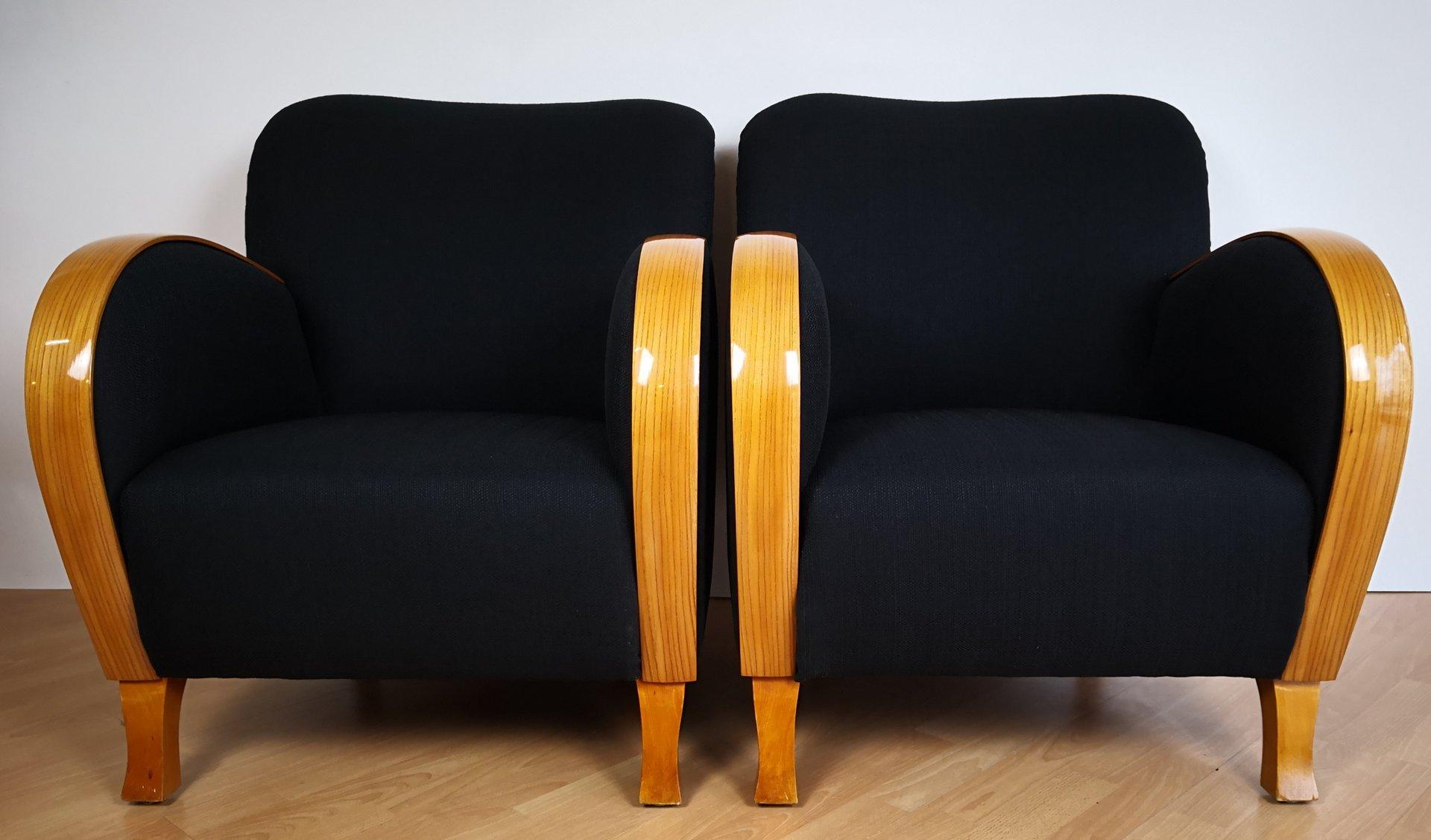 Art Deco Sessel aus Kirschholz, 1940er, 2er Set