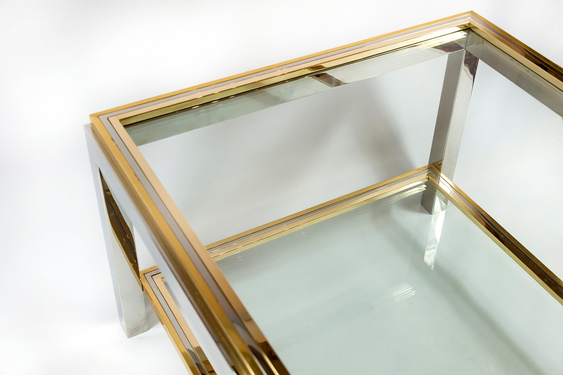 Mid-Century Italian Brass, Chrome and Glass Coffee Table ...