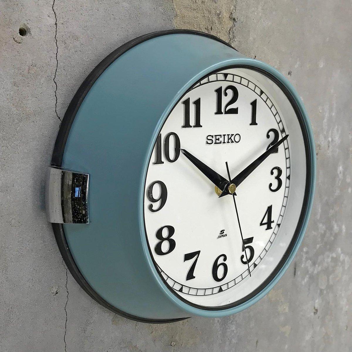Vintage Industrial Steel Quartz Wall Clock From Seiko