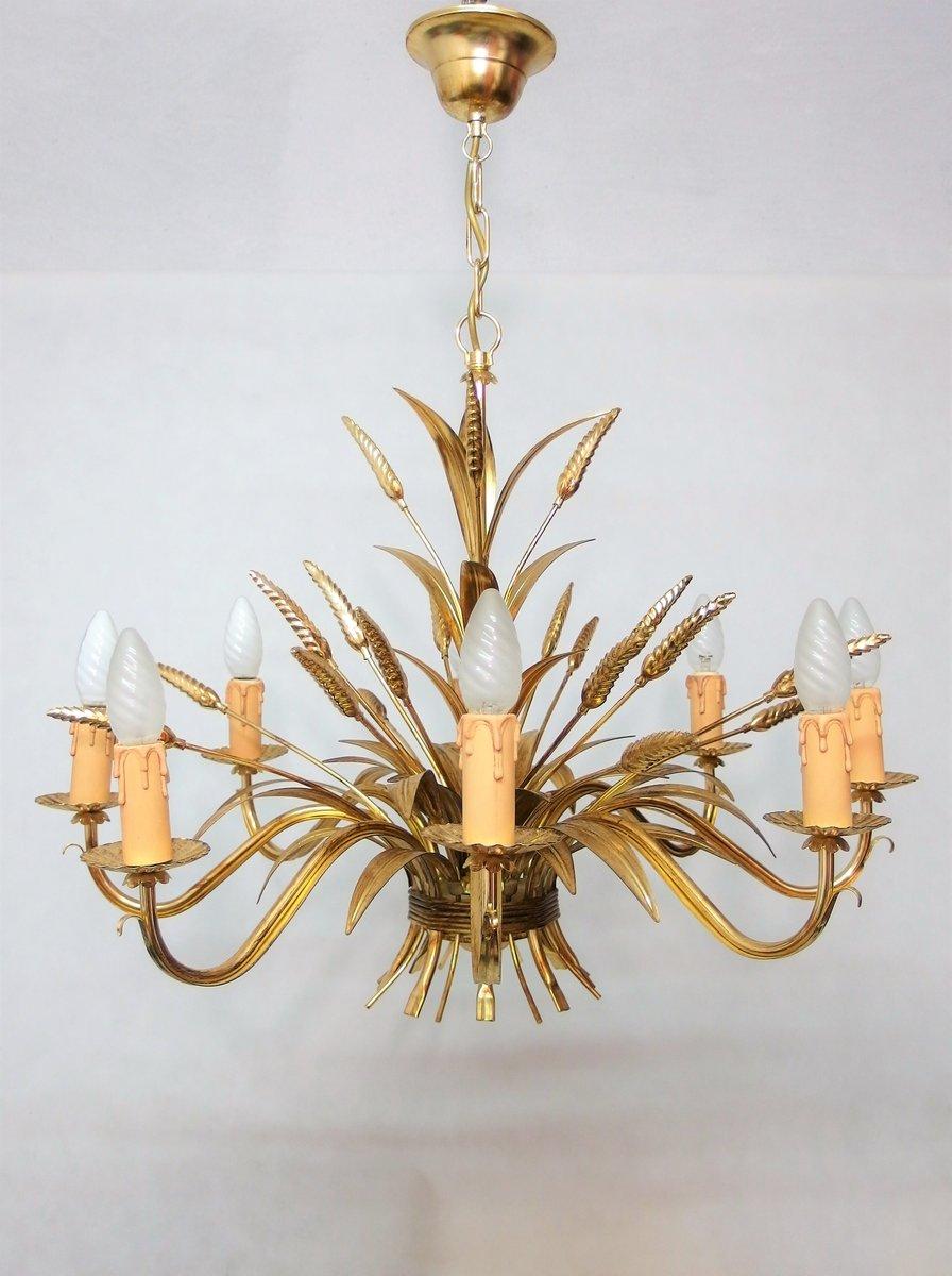 Vergoldete italienische Vintage Hängelampe in Weizenbündel-Optik