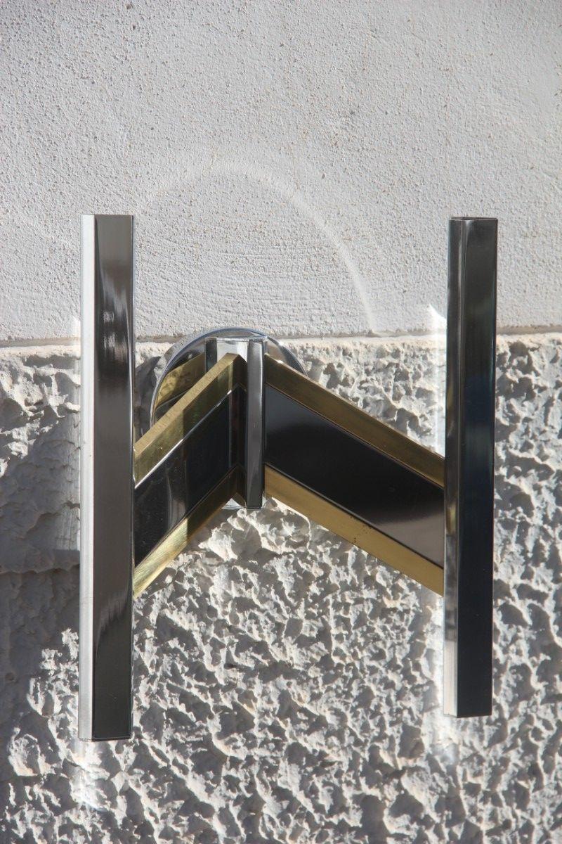 Minimalistische Wandlampen aus Chrom & Messing von Gaetano Sciolari, 1...