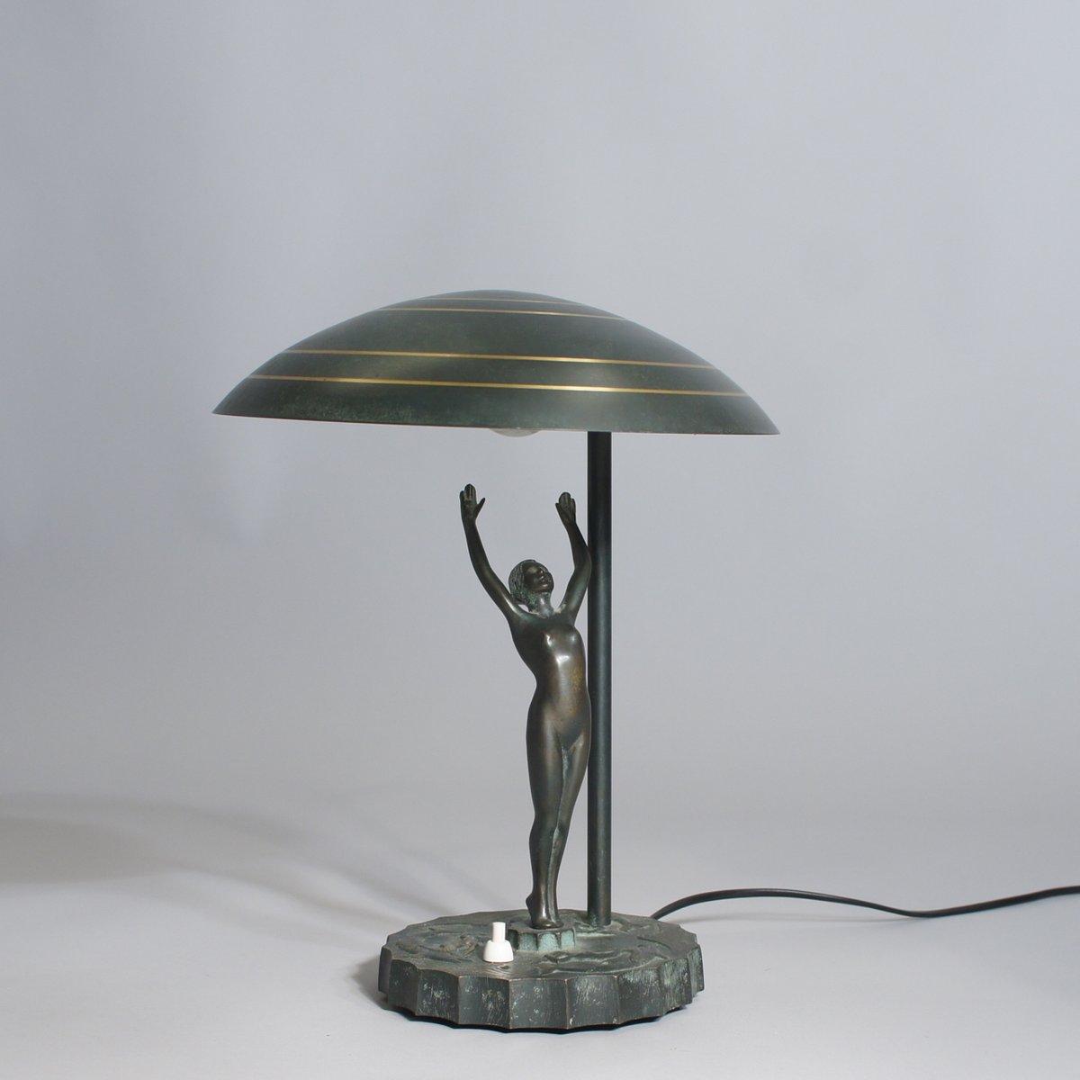 Schwedische Art Deco Tischlampe aus Bronze, 1930er