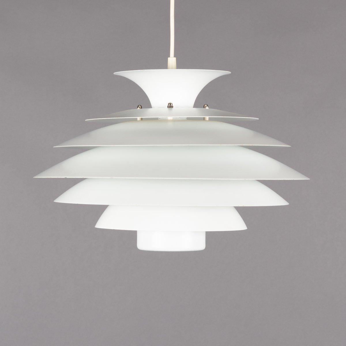 Weiße dänische Vintage Hängelampe von Form Light