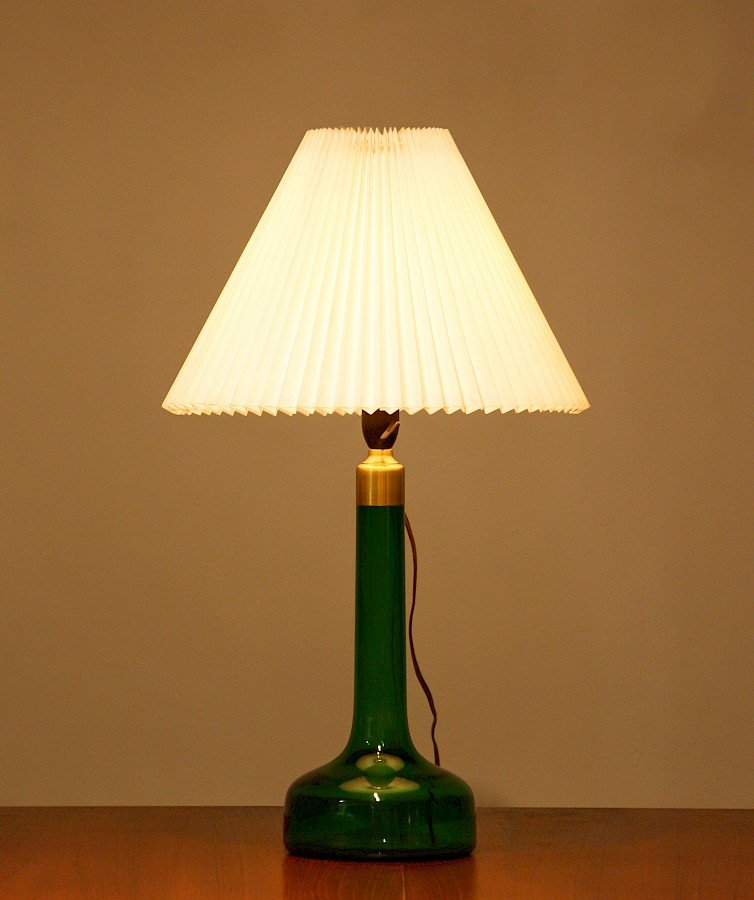 Scandinavian Green Glass Table Lamp From Holmegaard 1960s For Sale