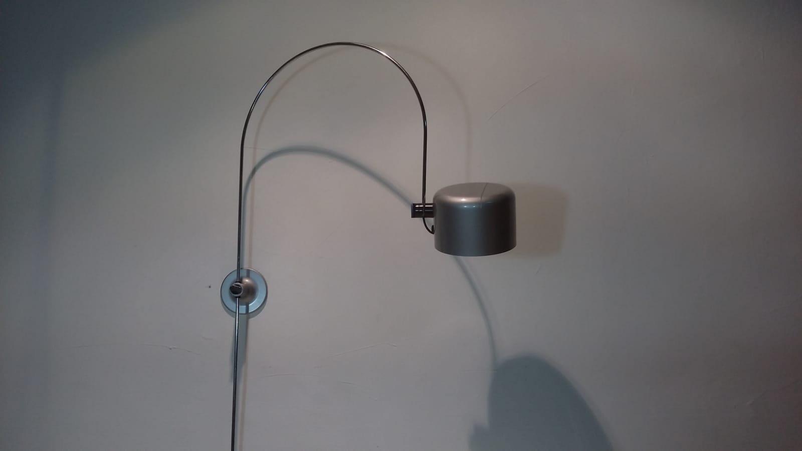 Graue Coupe Wandlampe von Joe Colombo für Oluce, 1967