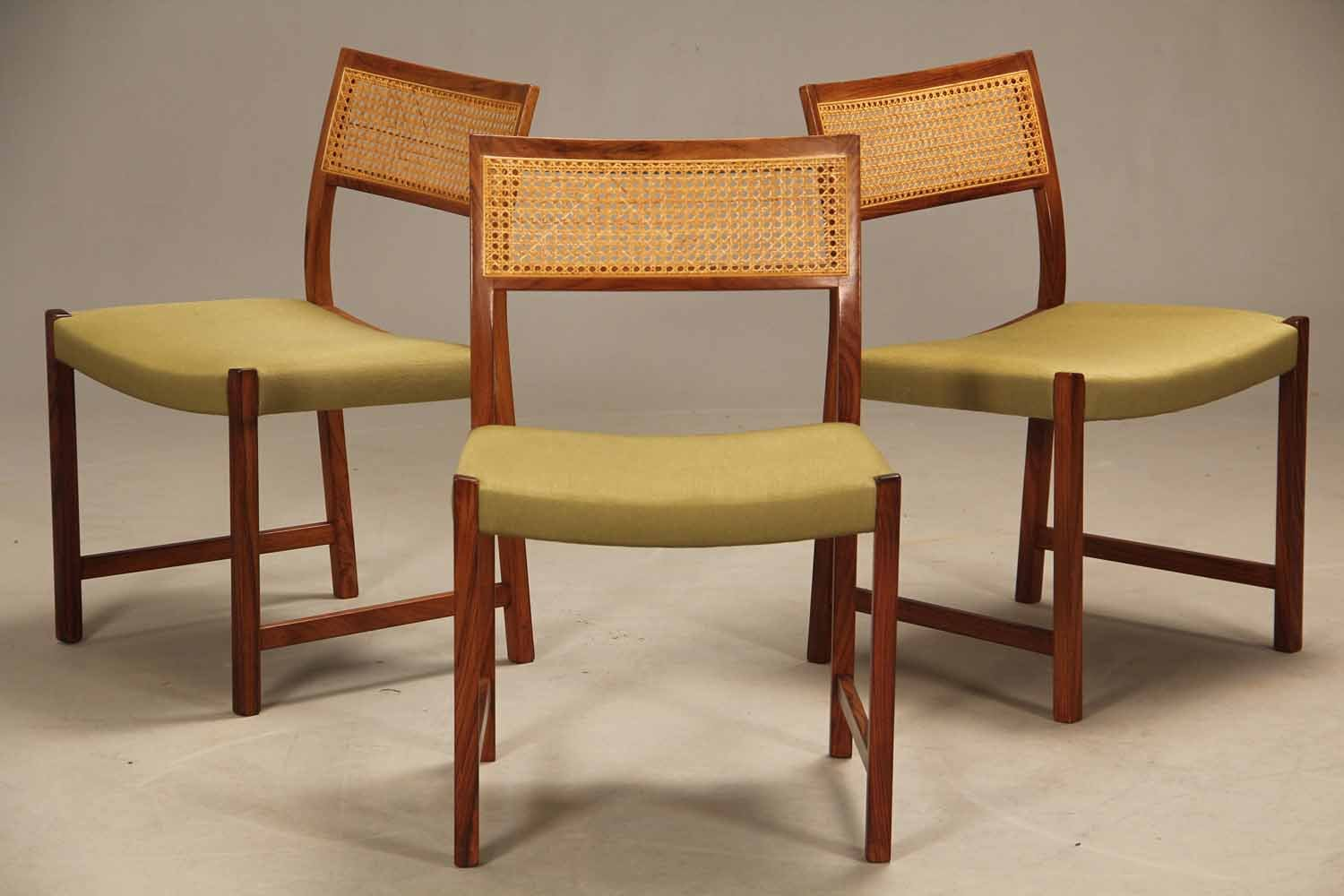 Vintage Rosewood & Rattan Dining Chairs, 1950s, Set of 4 ...