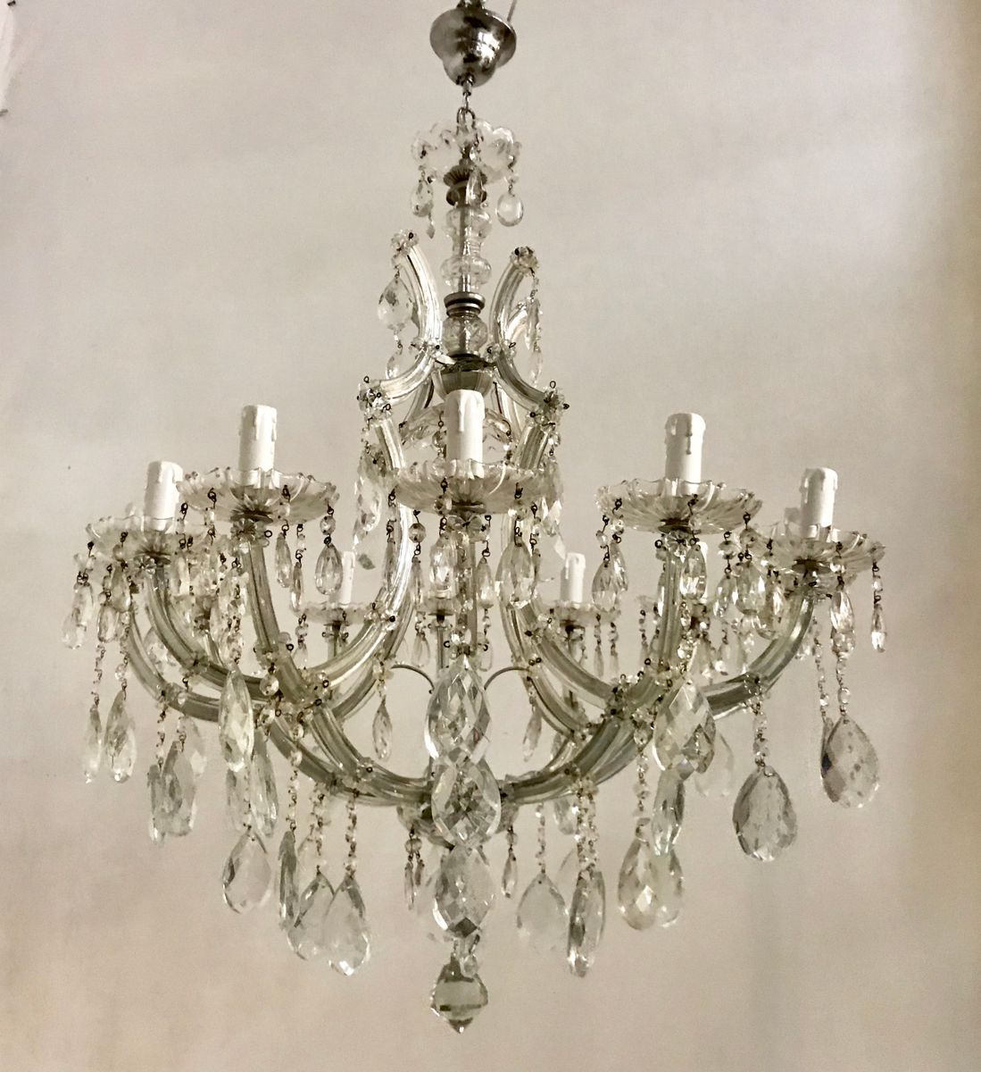 Großer Maria Theresa Kronleuchter aus Kristallglas, 1950er