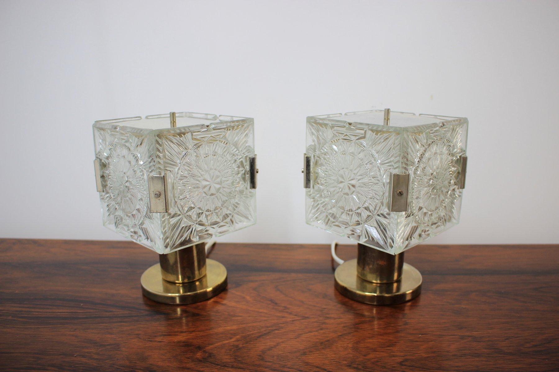 Vintage tischlampen aus glas und messing von kamenick for Tischlampen vintage