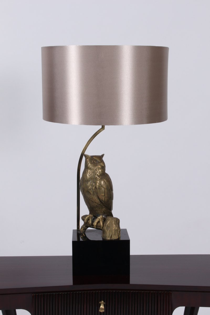Mid-Century Tischlampe aus Messing in Eulen-Optik, 1960er