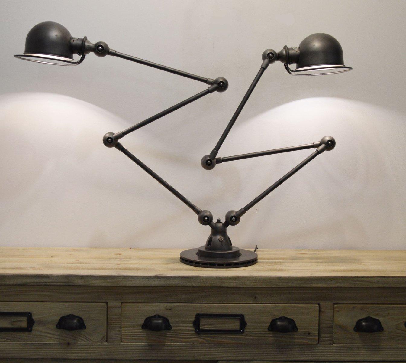 Artikulierte industrielle Doppeltischlampe von Jieldé, 1950er
