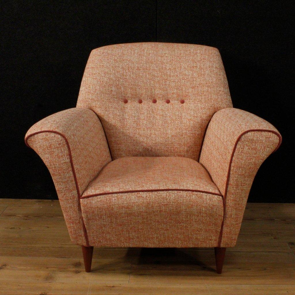 Italienische Sessel mit pinkem Stoffbezug, 1960er, 2er Set