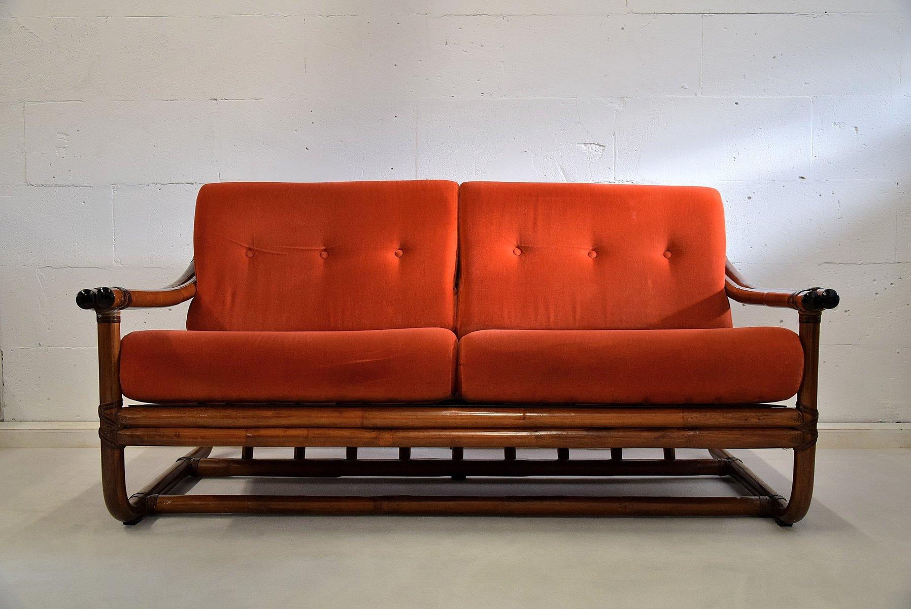 Italienisches 2 Sitzer Bambus Lounge Sofa 1960er Ferienhaus Dobbin